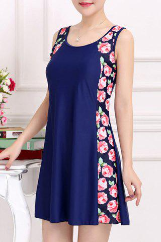 Shops Stylish Scoop Neck Sleeveless Floral Print One-Piece Swimsuit For Women - 3XL PURPLISH BLUE Mobile