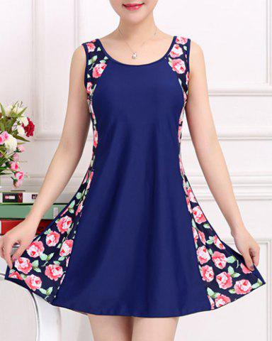 Stylish Scoop Neck Sleeveless Floral Print One-Piece Swimsuit For Women - PURPLISH BLUE 3XL