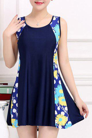 Fancy Stylish Scoop Neck Sleeveless Floral and Polka Dot One-Piece Swimsuit For Women - 4XL BLUE Mobile