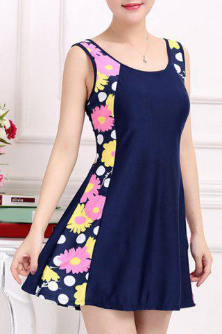 Sale Stylish Scoop Neck Sleeveless Floral and Polka Dot One-Piece Swimsuit For Women - 2XL PINK Mobile