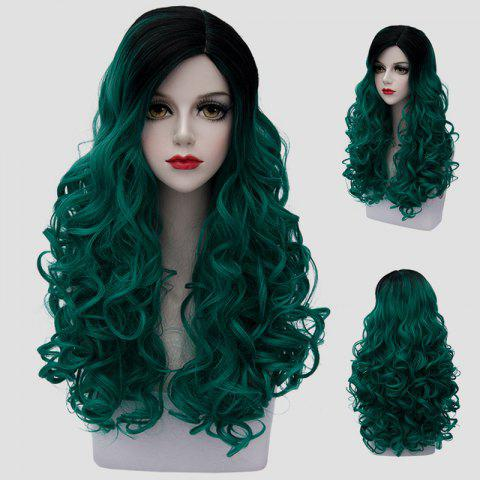 Trendy Trendy Long Synthetic Fluffy Curly Stunning Black Ombre Green Cosplay Wig For Women