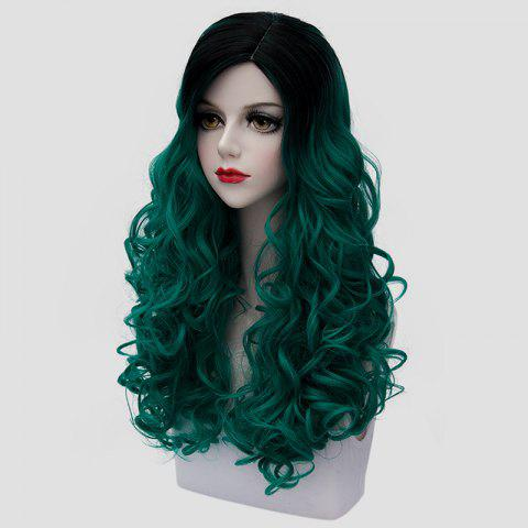 Sale Trendy Long Synthetic Fluffy Curly Stunning Black Ombre Green Cosplay Wig For Women - BLACK AND GREEN  Mobile