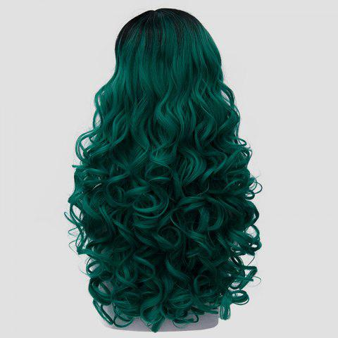 Online Trendy Long Synthetic Fluffy Curly Stunning Black Ombre Green Cosplay Wig For Women - BLACK AND GREEN  Mobile