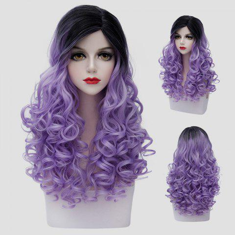 Shops Gorgeous Black Gradient Light Purple Shaggy Curly Synthetic Vogue Long Cosplay Wig For Women - BLACK AND PURPLE  Mobile