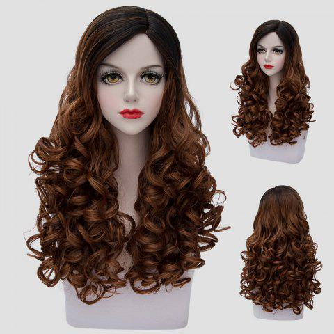 Online Stunning Black Ombre Brown Synthetic Vogue 60CM Long Curly Cosplay Wig For Women BLACK/BROWN