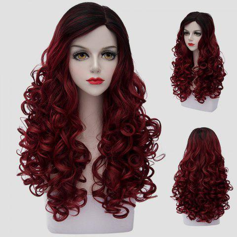Discount Noble Long Synthetic Fluffy Curly Fashion Black Ombre Dark Red Cosplay Wig For Women COLORMIX