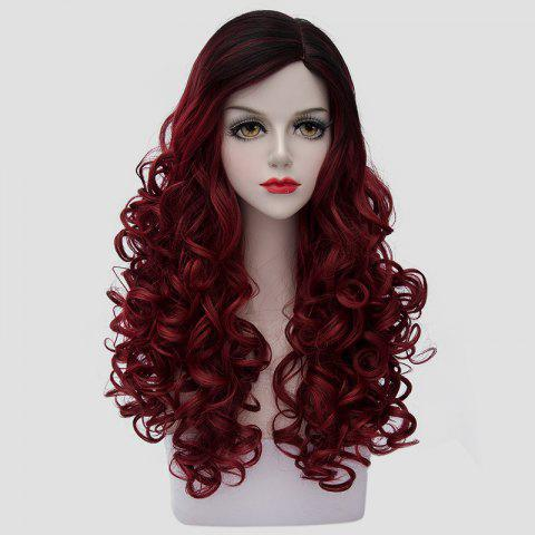 Affordable Noble Long Synthetic Fluffy Curly Fashion Black Ombre Dark Red Cosplay Wig For Women - COLORMIX  Mobile