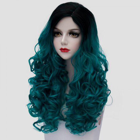 New Fashion Black Turquoise Ombre Synthetic Trendy 60CM Long Fluffy Curly Cosplay Wig For Women - BLACK AND GREEN  Mobile