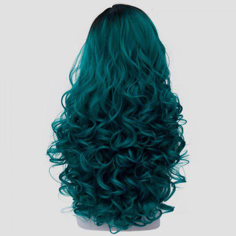 Fashion Fashion Black Turquoise Ombre Synthetic Trendy 60CM Long Fluffy Curly Cosplay Wig For Women - BLACK AND GREEN  Mobile