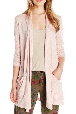 Collarless Long Sleeve Solid Color Pocket Design Cardigan 166026502