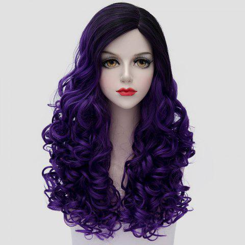 Gorgeous Black Purple Ombre Fashion Long Curly Universal Costume Play Wig For Women - Black And Purple