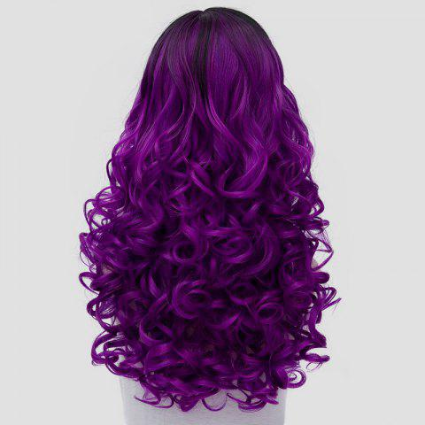 Chic Stunning Long Synthetic Vogue Black Purple Ombre Fluffy Curly Cosplay Wig For Women - BLACK AND PURPLE  Mobile