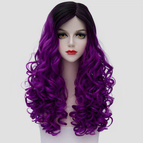 Cheap Stunning Long Synthetic Vogue Black Purple Ombre Fluffy Curly Cosplay Wig For Women
