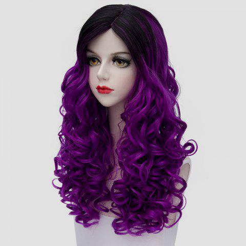 Sale Stunning Long Synthetic Vogue Black Purple Ombre Fluffy Curly Cosplay Wig For Women - BLACK AND PURPLE  Mobile