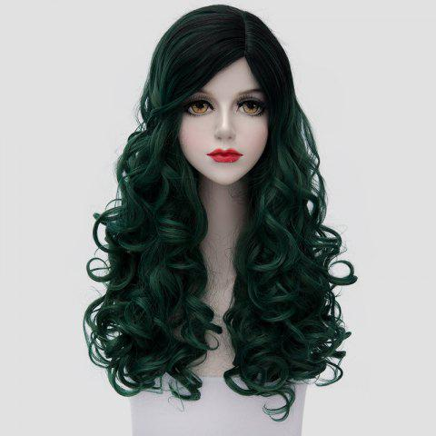 Sale Trendy Black Ombre Blackish Green Synthetic Shaggy Curly Fashion Long Cosplay Wig For Women
