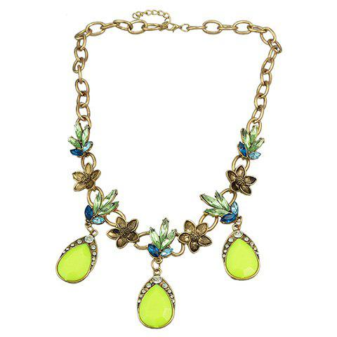 Buy Trendy Faux Crystal Water Drop Necklace For Women - YELLOW  Mobile