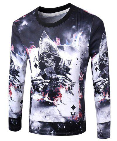 Best Casual Pullover Poker Skull 3D Printing Long Sleeve Sweatshirt For Men