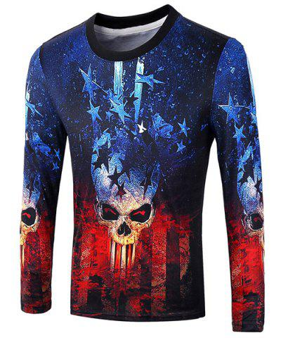 Outfits Casual Pullover Skull Star 3D Printing Long Sleeve Sweatshirt For Men