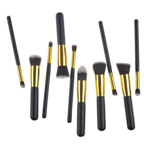Outfit 10 Pcs Wooden Handle Nylon Makeup Brushes Set - BLACK  Mobile