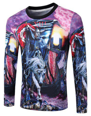 Store Casual Pullover Round Collar Skeleton Horse 3D Printing Long Sleeve Sweatshirt For Men
