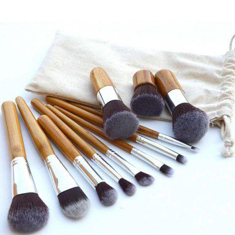 Fancy Practical 11 Pcs Nylon Makeup Brushes Set with Gunny Bag YELLOW