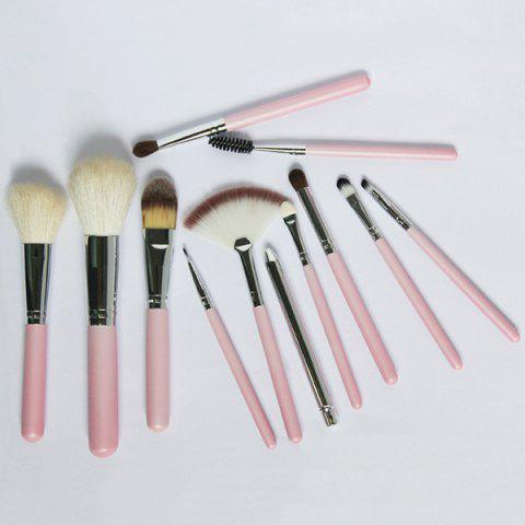 Hot 12 Pcs Wool Makeup Brushes Set with Holder - PINK  Mobile