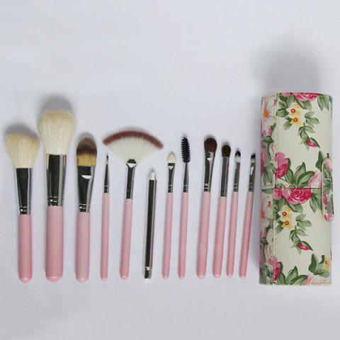 Buy 12 Pcs Wool Makeup Brushes Set with Holder - PINK  Mobile