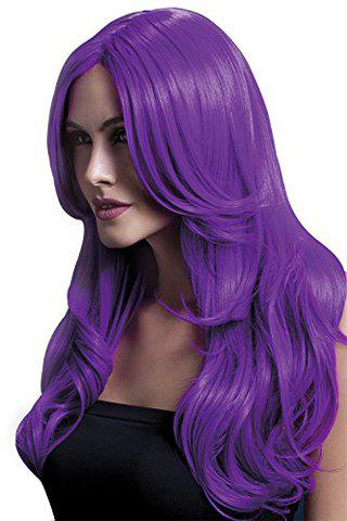 Hot Stylish 60CM Long Layered Synthetic Fluffy Wavy Middle Part Assorted Color Cosplay Wig For Women