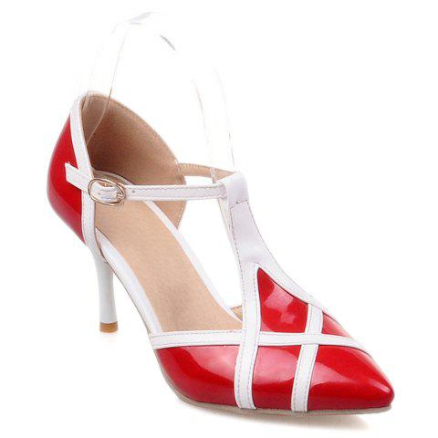 Online Elegant Patent Leather and T-Strap Design Women's Pumps - 39 RED Mobile