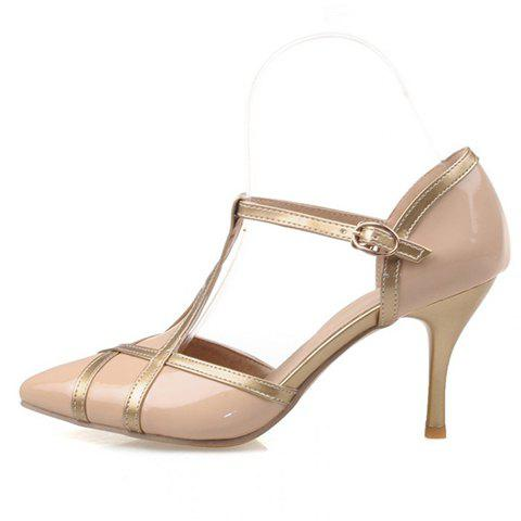 Shops Elegant Patent Leather and T-Strap Design Women's Pumps - 39 APRICOT Mobile