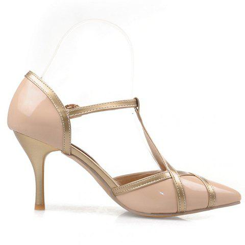 Outfit Elegant Patent Leather and T-Strap Design Women's Pumps - 39 APRICOT Mobile