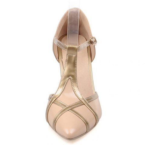 Fashion Elegant Patent Leather and T-Strap Design Women's Pumps - 39 APRICOT Mobile
