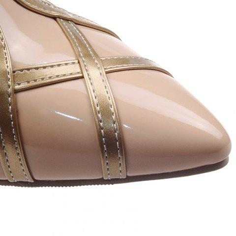 Discount Elegant Patent Leather and T-Strap Design Women's Pumps - 39 APRICOT Mobile