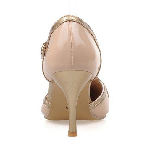 Chic Elegant Patent Leather and T-Strap Design Women's Pumps - 39 APRICOT Mobile