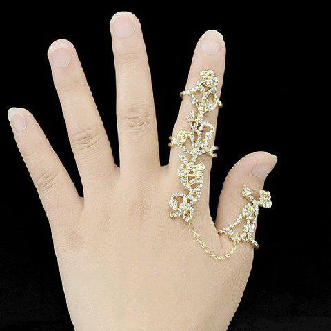 Cheap Rhinestoned Rose Shape Hollow Out Ring GOLDEN ONE-SIZE
