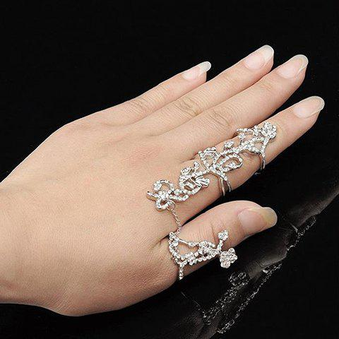 Outfits Rhinestoned Rose Shape Hollow Out Ring - ONE-SIZE SILVER Mobile