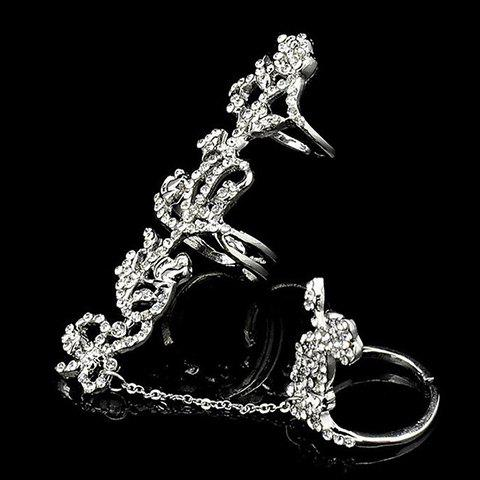Fancy Rhinestoned Rose Shape Hollow Out Ring - ONE-SIZE SILVER Mobile