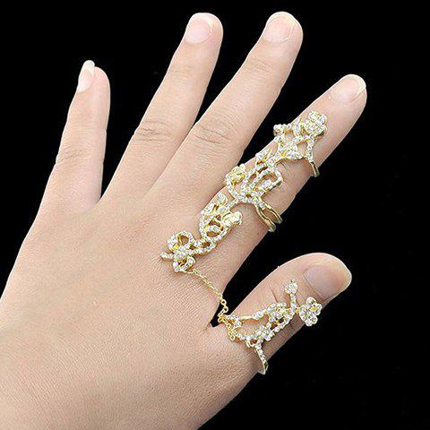 Outfits Rhinestoned Rose Shape Hollow Out Ring - ONE-SIZE GOLDEN Mobile