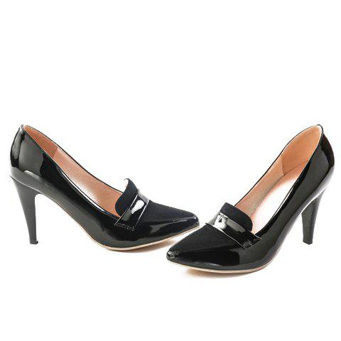 Discount Elegant Splice and Solid Color Design Women's Pumps - 39 BLACK Mobile