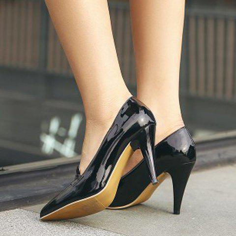 Outfit Elegant Splice and Solid Color Design Women's Pumps - 39 BLACK Mobile