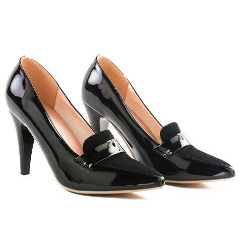 Online Elegant Splice and Solid Color Design Women's Pumps - 39 BLACK Mobile
