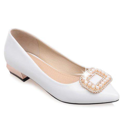 Fashion Trendy Beading and Square Buckle Design Women's Flat Shoes - 34 WHITE Mobile