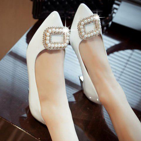 Shops Trendy Beading and Square Buckle Design Women's Flat Shoes - 34 WHITE Mobile