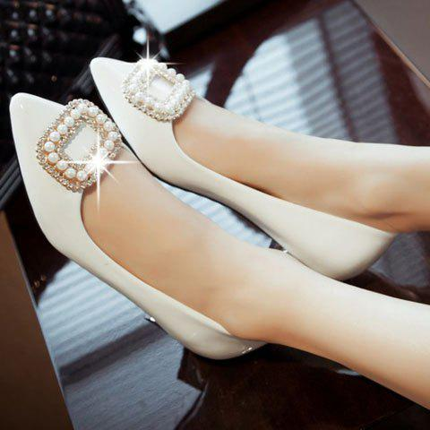 Outfits Trendy Beading and Square Buckle Design Women's Flat Shoes - 34 WHITE Mobile