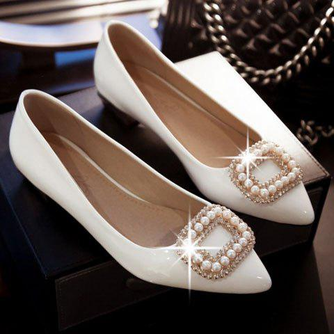 Fancy Trendy Beading and Square Buckle Design Women's Flat Shoes - 34 WHITE Mobile