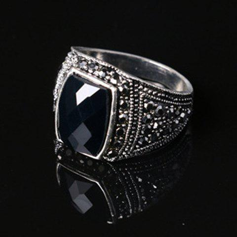 Fancy Noble Faux Gemstone Rectangle Carving Pattern Ring For Men