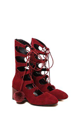 Online Trendy Pompon and Hollow Out Design Women's Short Boots - 38 RED Mobile