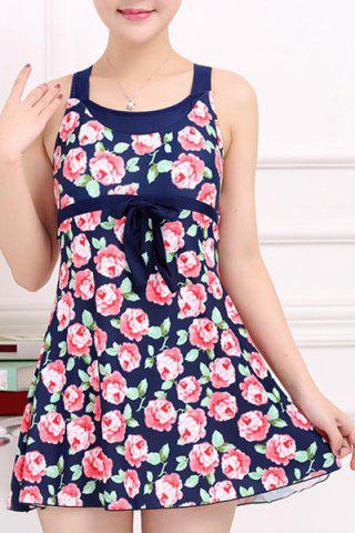 Hot Stylish Scoop Neck Bowknot Embellished Rose Pattern One-Piece Swimsuit For Women
