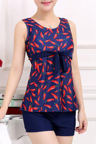 Chic Stylish Scoop Neck Red Pepper Printed Two-Piece Swimsuit For Women PURPLISH BLUE XL