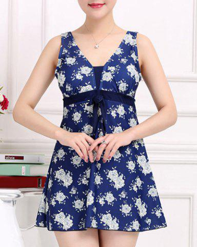 Store Stylish V-Neck Bowknot Embellished Floral Pattern One-Piece Swimsuit For Women